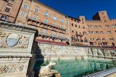 Fonten Gaia - Siena Toscana Italy Arkivbilder