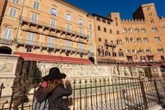 Fonten Gaia - Siena Toscana Italy Fotografering för Bildbyråer