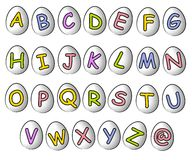 Fontes 2 d'oeuf de Cartoonish pâques d'alphabet Photographie stock libre de droits