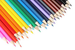 Fontes da escola e de escritório Fundo da escola Lápis coloridos isolados no branco Fotos de Stock