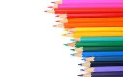 Fontes da escola e de escritório Fundo da escola Lápis coloridos isolados no branco Fotos de Stock Royalty Free