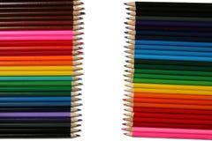 Fontes da escola e de escritório Fundo da escola Lápis coloridos isolados no branco Foto de Stock Royalty Free