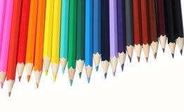 Fontes da escola e de escritório Fundo da escola Lápis coloridos isolados no branco Foto de Stock