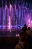 Fontes da luz e da música em Maidan Nezalezhnosti em Kiev Fotos de Stock Royalty Free