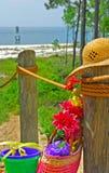 Fontes da praia na costa imagens de stock