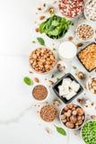 Fontes da proteína do vegetariano foto de stock