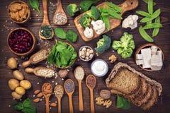 Fontes da proteína do vegetariano imagens de stock