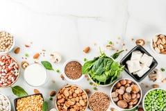 Fontes da proteína do vegetariano imagem de stock royalty free