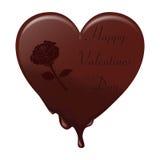 Fontes de coeur de chocolat Là-dessus une inscription écrite avec Valentine et a monté Approprié aux valentines, aux cartes posta illustration libre de droits