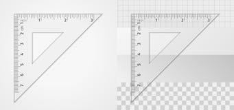Fontes de escola Ferramenta de medição Régua do triângulo 7 cm e 3 polegadas ilustração do vetor