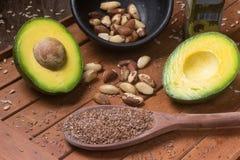 Fontes de gorduras saudáveis Fotografia de Stock Royalty Free