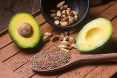 Fontes de gorduras saudáveis imagens de stock