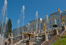 Fontes de Petergof, St Petersburg, Rússia Fotografia de Stock Royalty Free