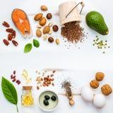 Fontes do alimento da seleção da ômega 3 Ômega alta 3 do alimento super e fotos de stock