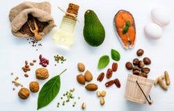 Fontes do alimento da seleção da ômega 3 Superfood f não saturado alto imagem de stock