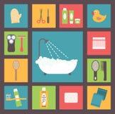 Fontes do banho, acessórios da higiene, cosméticos, Fotos de Stock