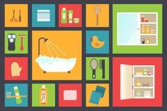 Fontes do banho, acessórios da higiene, cosméticos, cuidados capilares etc. Ícones lisos do projeto ajustados Imagem de Stock Royalty Free