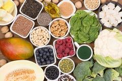 Fontes do vegetariano de ômega 3 ácidos gordos fotos de stock royalty free