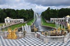 Fontes e palácios de Peterhof Imagens de Stock Royalty Free