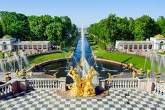 Fontes grandes da cascata em Petergof, St Petersburg, Rússia imagem de stock royalty free