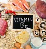 Fontes naturais de cobalamina da vitamina B12 fotografia de stock
