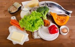 Fontes saudáveis do alimento da vitamina A imagens de stock royalty free
