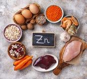Fontes saudáveis do produto de zinco imagens de stock royalty free