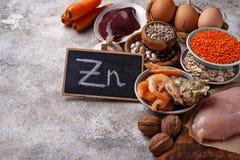 Fontes saudáveis do produto de zinco fotos de stock royalty free