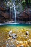 Fontes Wasserfall Levada DAS 25, Madeira Lizenzfreie Stockfotografie
