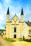 Fontevraud Abbey, west facade church. Religious building. Loire Royalty Free Stock Photography