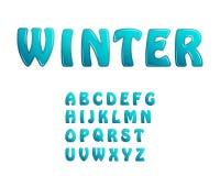 Fonti brillanti di inverno di festa delle lettere del ghiaccio blu Immagini Stock Libere da Diritti