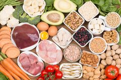 Fonti dell'alimento della biotina, vista superiore fotografia stock