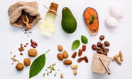 Fonti dell'alimento di selezione di Omega 3 Alimento eccellente alto Omega 3 e Fotografia Stock Libera da Diritti