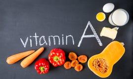 Fonti dell'alimento di vitamina A naturale Vista superiore Concetto di dieta sana fotografia stock libera da diritti