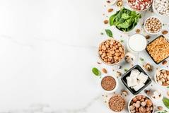 Fonti della proteina del vegano fotografie stock