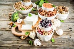 Fonti della proteina vegetale del vegano immagine stock libera da diritti