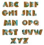 fonti di alfabeto inglese 3D nello stile di struttura dell'architetto Immagine Stock