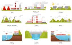 Fonti di energia alternative Centrali elettriche idroelettriche, del vento, nucleari, solari e termiche Progettazione piana di ve illustrazione di stock