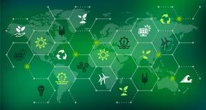 Fonti di energia rinnovabili & sostenibili - innaffi, solare, il vento, energia della biomassa: illustrazione royalty illustrazione gratis