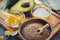 Fonti di Omega 3 acidi grassi Immagini Stock