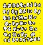 Fonti disegnate a mano d'avanguardia bianche Immagini Stock