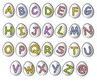 Fonti tipografiche 2 dell'uovo di Pasqua di Cartoonish di alfabeto Fotografia Stock Libera da Diritti