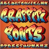 Fonti tipografiche dei graffiti Fotografia Stock Libera da Diritti