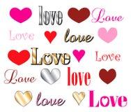 Fonti tipografiche del cuore di amore Immagine Stock Libera da Diritti