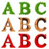 Fonti tipografiche di alta risoluzione 3D isolate Immagini Stock