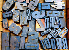 Fonti tipografiche di legno Immagini Stock