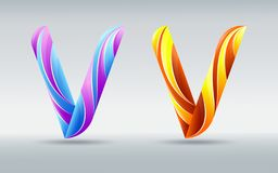 fonts Creatieve verdraaide brief V Abstracte 3D doopvont Karamel en ultraviolette kleuren Een elegant typografisch concept royalty-vrije illustratie