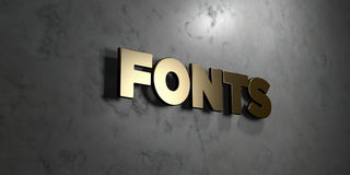 Fonts - Gold sign mounted on glossy marble wall  - 3D rendered royalty free stock illustration Royalty Free Stock Photo