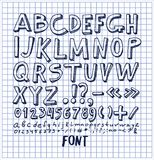 Fonts Hand Drawn Elements Alphabet Written Ink Pen. Fonts hand drawn elements, alphabet written by ink pen with numbers and symbols below, ABC sketch vector Stock Photos