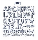 Fonts Hand Drawn Elements Alphabet Written Ink Pen. Fonts hand drawn elements, alphabet written by ink pen with numbers and symbols below, ABC sketch vector Royalty Free Illustration